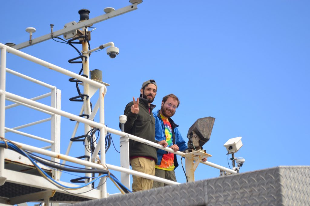 Alex Andronikides (Queens College, New York) and Willem Weertman (UW Oceanography) watch the first launch of Jason on the UW-NSF-OOI VISIONS'17 cruise. Credit: M. Elend, University of Washington.