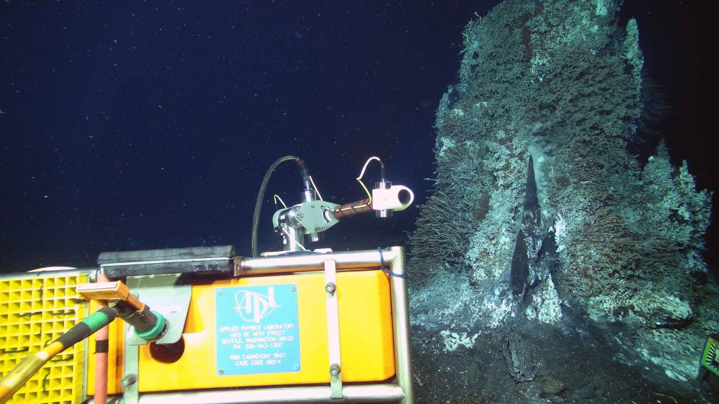 The high definition camera, built by the UW Applied Physics Lab, was reinstalled in 2016 during the VISIONS'16 cruise. The prior camera had been streaming video live to shore for two years. The camera was recovered to clear the outer window of biofouling. The camera is located at the hydrothermal chimney called Mushroom in the ASHES hydrothermal field on Axial Seamount. Video are streamed live from ~5000 ft down and >300 miles offshore onto the Internet 8 times a day. Credit: UW/NSF-OOI/WHOI; V16.