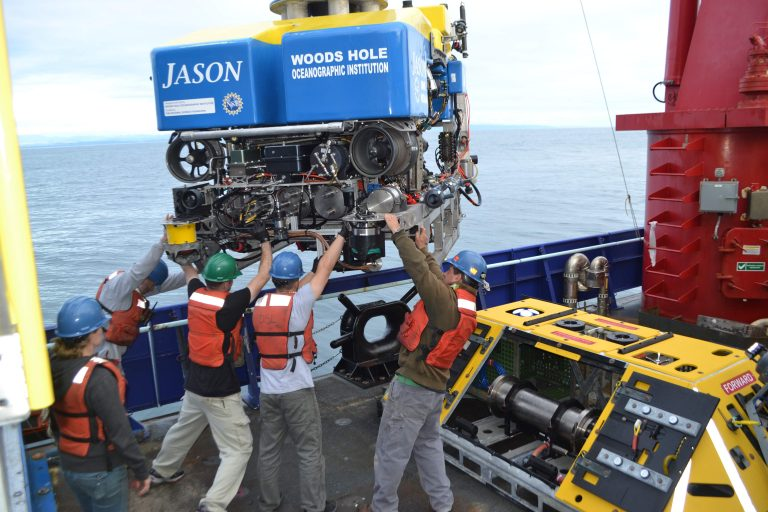 The Jason team rotates the vehicle in place for latching into the 3200 lb Benthic Experiment Platform for installation at the Oregon Shelf site. Credit: M. Elend, University of Washington, V16.
