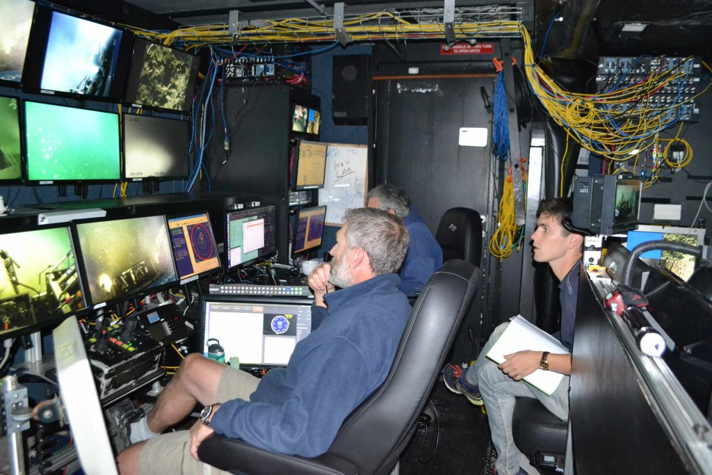 Brendan Philip, a new graduate student at the School of Oceanography, University of Washington, leads an ROV Jason dive on a new seep site he discovered during the VISIONS'16 cruise. Credit: M. Elend, University of Washington, V16.