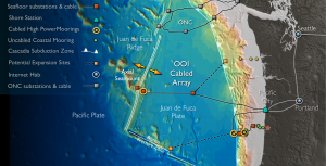 The Cabled Array high power and bandwidth fiber optic cables extend from coastal to blue water environments, that include the Cascadia Subduction Zone and the largest volcano off of the Washington-Oregon coast, Axial Seamount. The ~ 900 km of cable provides two-way communications and data flow at the speed of light to 140 instruments and 2900 m-tall moorings with instrumented profilers that have been operational since 2015. Credit: University of Washington.