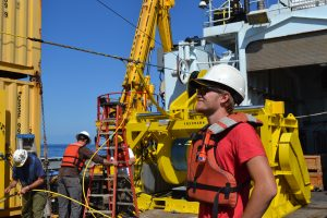 Quae Atwood, from Western Washington University, onboard the R/V Thompson during Leg 2 of the VISIONS'15 expedition. Credit: Tracie Barry, Grays Harbor College; V15.