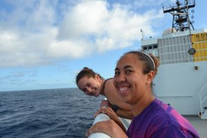 Kearstin and Jessie are happy to be sailing on Leg 1 of the VISIONS'15. Credit: Mitch Elend, University of Washington.