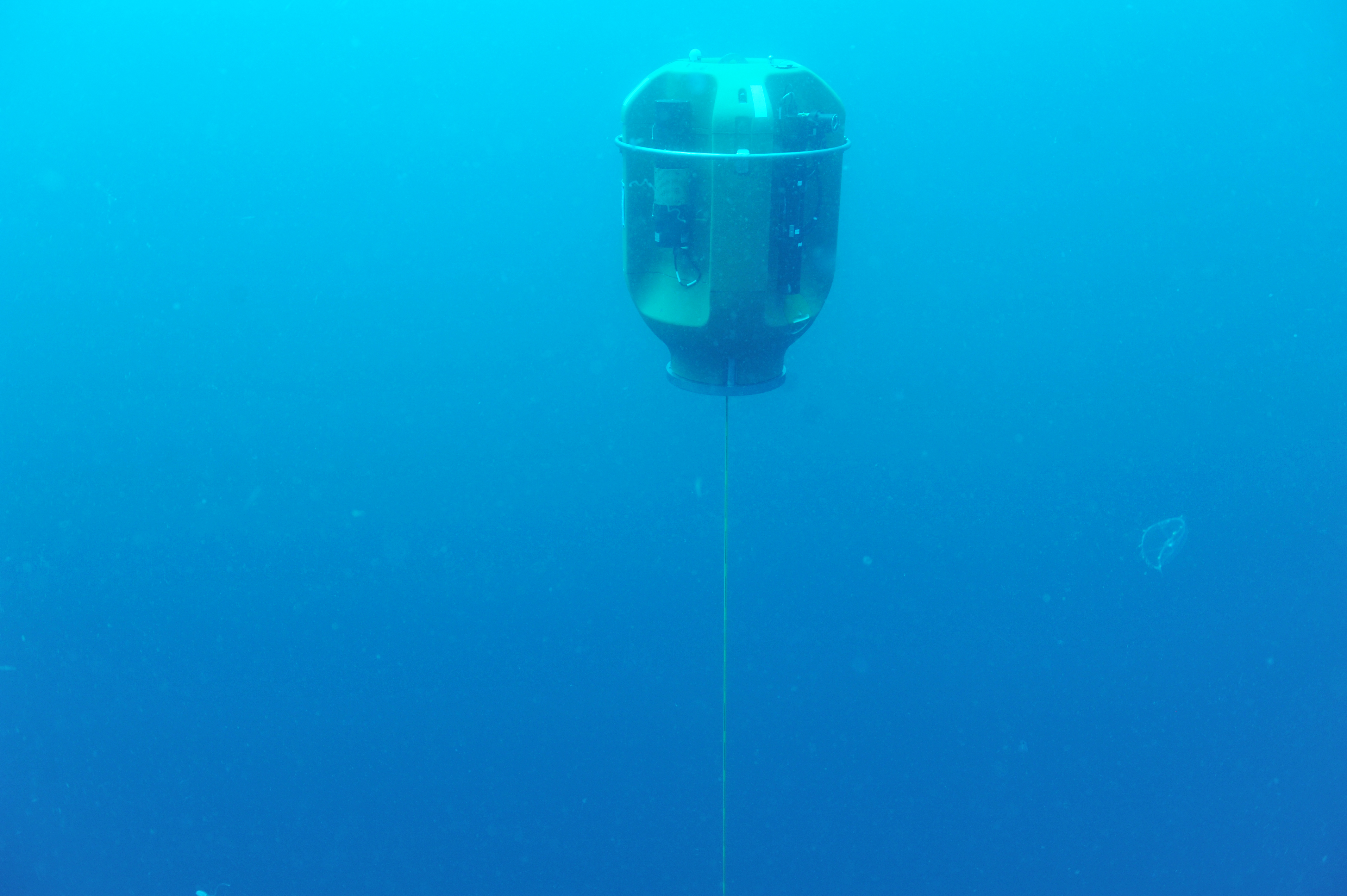 The Oregon Slope Base Shallow Profiler, engulfed in soft sunlight, rises to 30 m beneath the ocean's surface. It is measuring nutrients, dissolved oxygen, seawater acidity, temperature, chlorophyll, and carbon dioxide concentrations at high temporal and spatial resolution, controlled from ~70 miles onshore through the Internet at the University of Washington. Credit: NSF-OOI/UW/CSSF; V15.