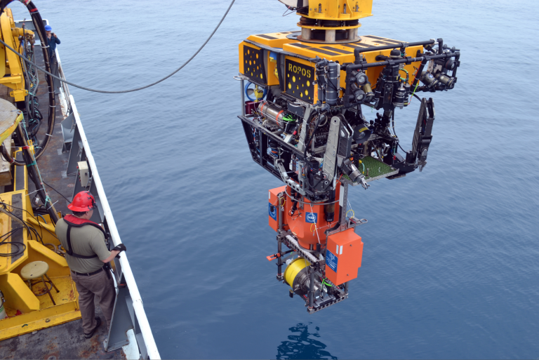 The ROV ROPOS begins its ~600 ft descent to the Shallow Profiler Mooring at the Slope Base site with an instrumented Winched Shallow Profiler 'pod' latched to its underbellly. Credit: Mitch Elend, University of Washington, V15.