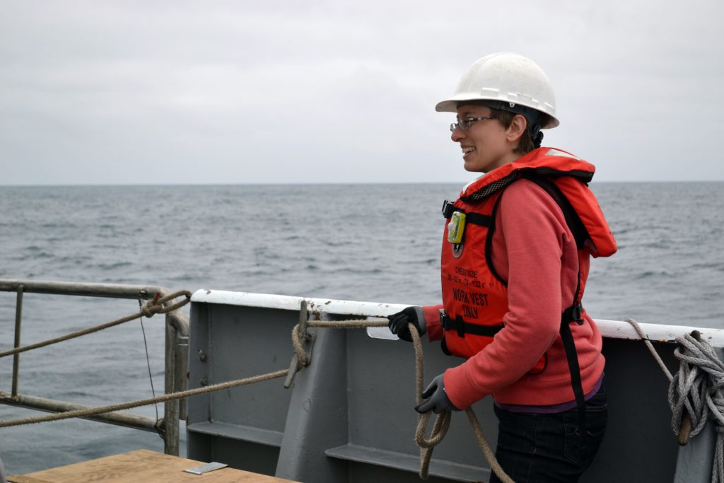 Jessica helps launch the CTD at the beginning of the Cabled Array VISIONS'15 expedition. Credit: Mitch Elend, University of Washington.