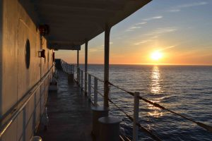 A beautiful sunset on July 4th greated the R/V Thompson as she sailed through the Straits of Juan de Fuca on July 4th, 2015. Credit: Lauren Kowalski, University of Washington.