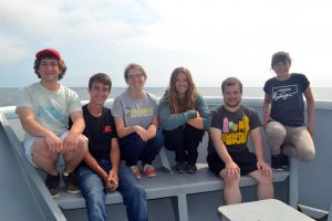 Leg 3 students on the VISIONS'14 Expedition gather on the bow of the R/V Thompson. Photo Credit. Mitch Elend, UW; V14.