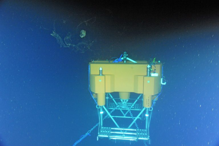 The two-legged Shallow Profiler Mooring was installed on ROPOS Dive R1753 at the Oregon Offshore Site (600 m). The instrumented winched shallow profiler and platform instrument systems will be installed on Leg 4. Photo credit: NSF-OOI/UW/CSSF; Dive R1753; V14.
