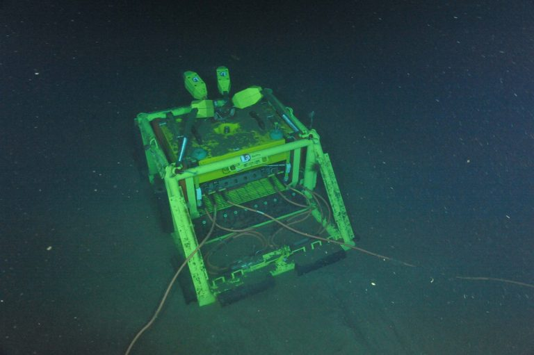 All deployed Slope Base infrastructure connected to primary node PN1A.  Photo Credit: NSF-OOI/UW/CSSF, Dive R1751, V14