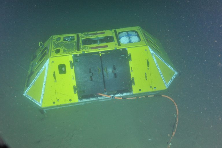 The Benthic Experiment Package on the seafloor at Endurance Oregon Offshore, connected to the low-voltage node LV01C by the cable extending under the protective doors. The oxygen sensor is visible on the left side, and the 3D velocimeter and ADCP can be seen on the top left and right (respectively).  Photo Credit: NSF-OOI/UW/CSSF, Dive 1747, V14