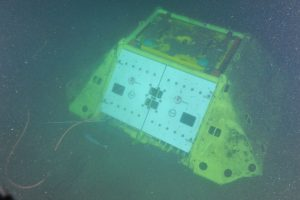 Primary node PN1C connected to the Endurance Oregon Offshore site (600 m), with the protective doors closed.  Photo Credit: NSF-OOI/UW/CSSF, Dive 1747, V14