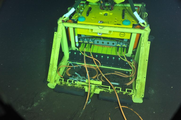 All Axial Base seafloor infrastructure is now connected to Primary Node PN3A.  Photo Credit: NSF-OOI/UW/CSSF, Dive 1742, V14