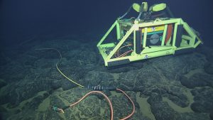 Primary Node PN3B at Axial Caldera, along with cable RS03W9.  Photo Credit: NSF-OOI/UW/CSSF, Dive 1741, V14