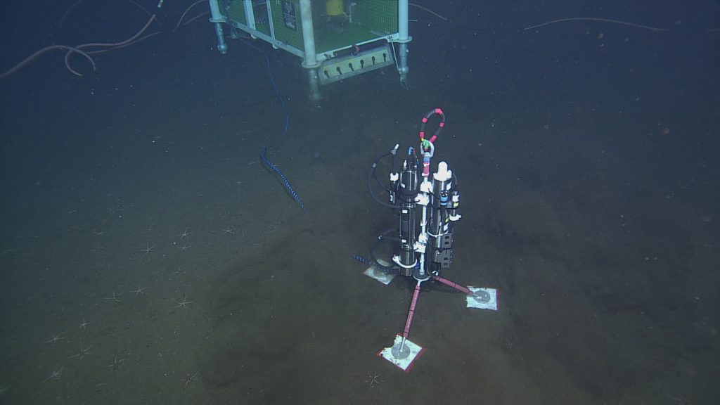 Tripod mounted CTD and optical attenuation sensors on the seafloor at the Axial Base site (2600m deep). Junction box LJ03A is visible in the background.  	Photo Credit: NSF-OOI/UW/CSSF, Dive 1739, V14