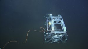 The empty ROCLS spool on the seafloor at Axial Base, after laying cable AXVMW4 from LV03A to the deep profiler site.  Photo Credit: NSF-OOI/UW/CSSF, Dive 1737, V14