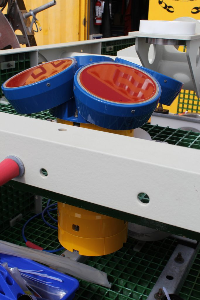 ADCP (acoustic doppler current profiler) mounted on benthic platform.