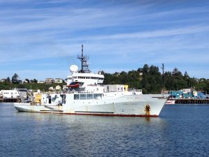 The R/V Thomas G. Thompson steaming into Newport following a successful Leg 1 of the VISIONS '14 cruise.  Photo Credit: Kendra Daly, USF