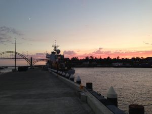 R/V Thompson docked in Newport between Legs 1 and 2 of the VISIONS14 cruise.  Photo credit: Michael Vardaro, Oregon State University