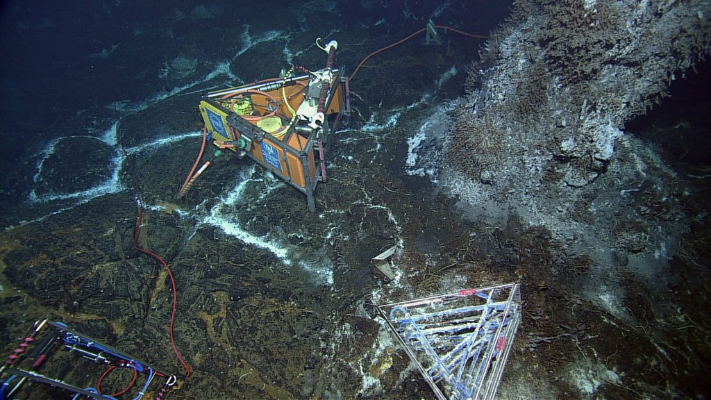 During ROPOS Dive R1730, the NSF-OOI-RSN high-definition video camera was tested successfully. The camera was installed in 2013 and 1-year later it worked extremely well. A test 3-D thermistor array (bottom right) that was installed last year rests on a diffuse flow site, covered in microbial filaments. To the left, a cabled 3-D thermistor array will replace the uncabled system. Photo credit: NSF-OOI/UW/CSSF; Dive R1730; V14.