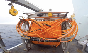 ROCLS with 4.7 km of extension cable, which was laid on Axial, from Primary Node PN3B to the Central Caldera.  Photo credit: Christina Ramirez, University of Washington, V14.