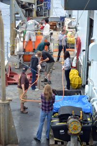 The entire crew turns out for hand spooling ~800 ft of extension cable back onto the ROCLS drum that was recovered from the seafloor. Hard work, but lots of smiles. Photo credit: Mitch Elend, University of Washington, V14.