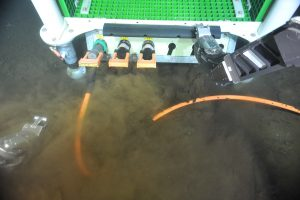 The 1 km extension cable from the Primary Node PN3A at the base of Axial Seamount is connected to the low voltage node LV013A, which will feed the two moorings at this site. Photo credit: NSF-OOI/UW/CSSF; Dive R1717; V14.