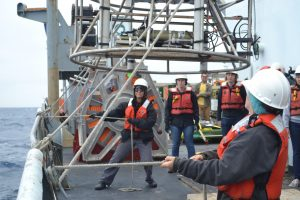 Leg 1 students assist ship's crew to deploy the CTD. Photo credit: