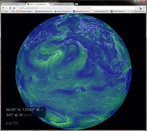 This beautiful image of global weather conditions is a screen shot from the http://earth.nullschool.net site. The green circle shows the approximate location of Axial Seamount.  Over July 15-16, the wind shifted from westerly to northerly and increased from ~12-16 kts to 22-27 kts . Wind waves increased from ~3' to 5-6' during that time. The forecast is for the wind to remain sustained from 25-30 kts from the north and wind waves from 2-3m (6-10') until Friday morning, when the wind should both shift direction and drop to ~10 kts.