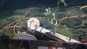 A Field-Assembled Cable Termination (FACT) on front porch of ROPOS subsequent to cutting the cable. Photo Credit: NSF-OOI/UW/CSSF; Dive R1712; V14