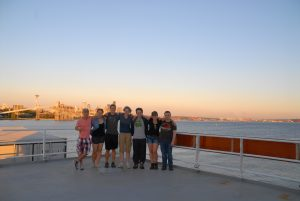 VISIONS'14 students onboard the R/V Thompson their first night. From left to right: Don Setiawan, Gina Hansen, Jesse Turner, Kaite Bingham, Sam Albertson, Krista Nunnally, and Charles Garcia.