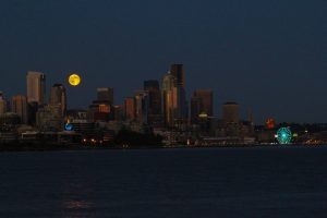 A super moon rises over Seattle as observed from the University of Washington's research vessel the R/V Thompson. A fine send off to the start of an 84-day expedition to complete the installation of the U.S. first underwater high power and bandwidth cabled observatory.  Photo credit: Skip Denny, University of Washington, V14.