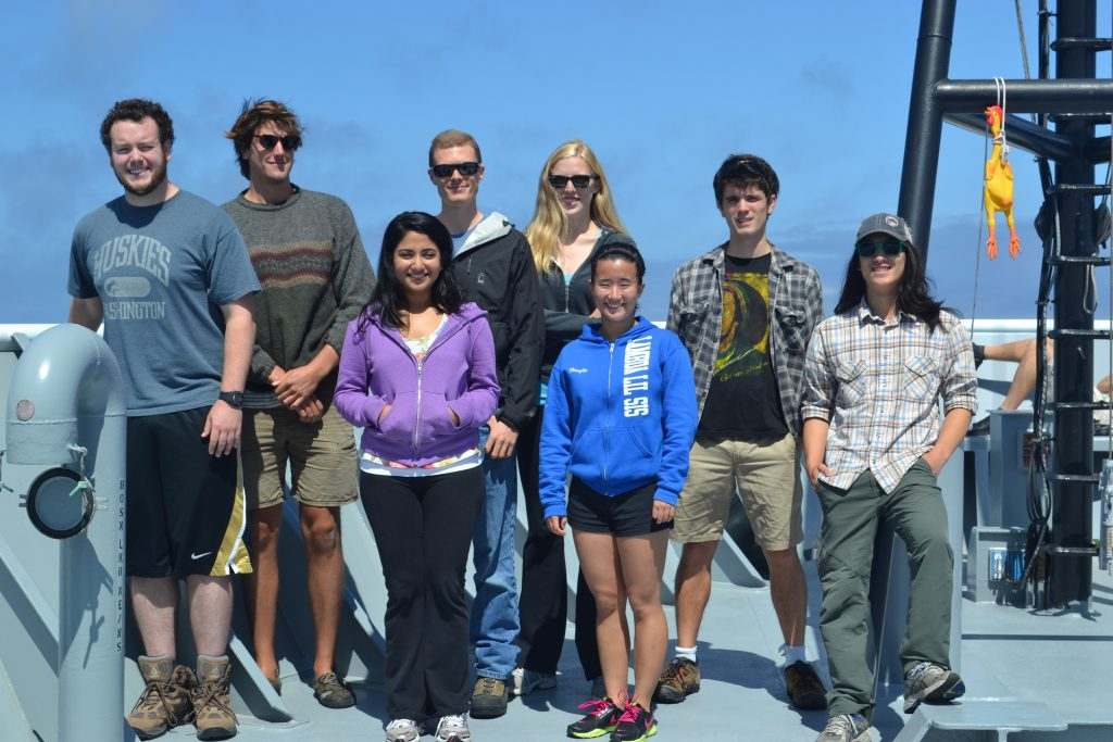 The students on Leg 4 gather on the bow of the R/V Thompson. From left to right -  	Charlie Parker,  Andrew Baird, Vega Shaw, Cody Turner, Caitlin Russell, Teos Bisbee, Brendan Philip, and Colin Katagiri....oh,and to the far right is 'Mr. Chicken,' a fine member of the science party who was the only one to dive to 5000 ft beneath the oceans surface.  	During the VISIONS'13 program, 20 undergraduate and graduate students participatied in the sea-going experience onboard the R/V Thompson using the Canadian ROV ROPOS.