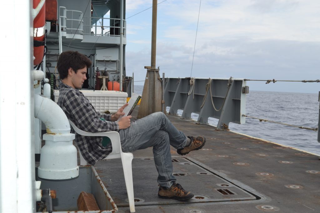 A bit of relaxation time on a cloudy, but mild Sunday morning...Day 41 on the R/V Thompson for Brendan Philip. Photo Credit: Mitch Elend, University of Washington.
