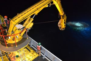ROPOS decends to the seafloor during the VISIONS'13 expedition. Photo Credit: Mitch Elend, University of Washington