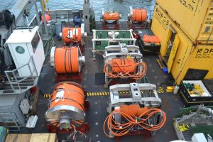 Numerous spools of extension cables await deployment on Leg 3. When completed, the VISIONS13 program will have installed ~23,000 m of cable on the seafloor.