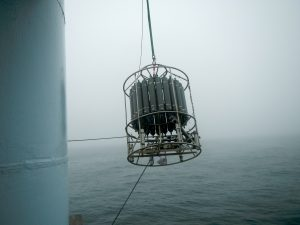 The CTD was safely brought onboard after its freefall >9000 feet to the seafloor below. A follow-on test showed it was ok.