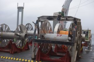 Upon leaving Axial Seamount, only one cable reel remains on deck. Leg 3 Visions 13. Photo by Mary Miller.