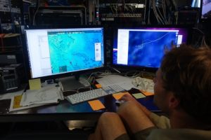 Giora Proskurowski planning a cable route on Axial Seamount during leg 3 during Visions 13.