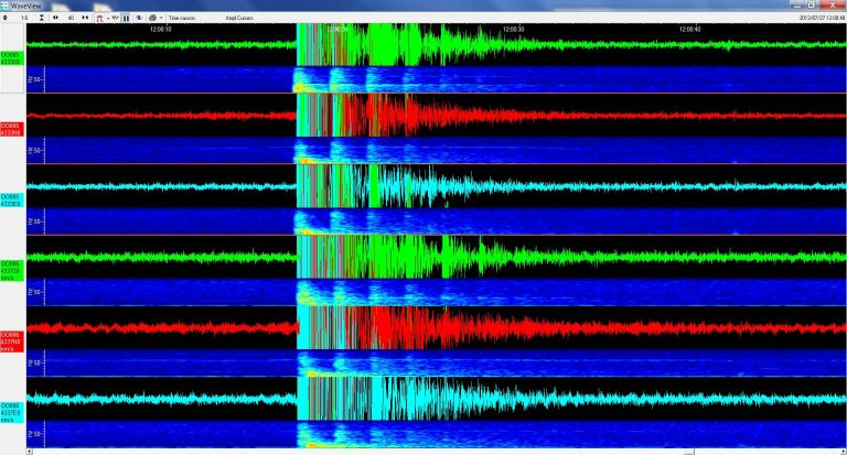 First earthquake data from Eastern Caldera subnet. Seen here are two sets of patterns, three panels from each seismometer. VISIONS '13, Leg 3.