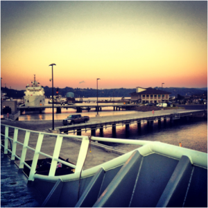 Sunset at NOAA Dock in Newport, Oregon from the Thompson  Photo by Montgomery Taylor