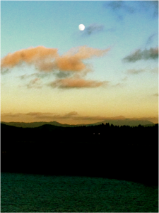 Moon over Newport upon our departure  Photo by Montgomery Taylor