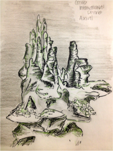 """Sketch of """"Castle"""" Hydrothermal Vent (International District, Axial Seamount)  Sketch and photo by Montgomery Taylor"""