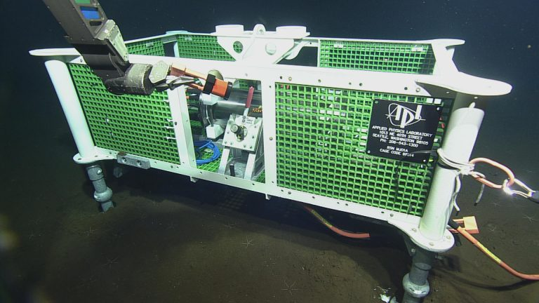 Deployed at the base of Axial Seamount, this secondary node was used as an anchor during the deployment of 600 m of extension cable and during testing while ROPOS dowloaded data from a pressure sensor and current meter. (credit: NSF-OOI/UW/CSSF)