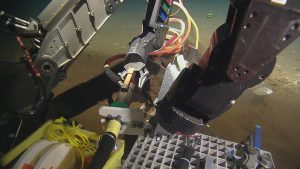 During dive R-1600, ROPOS connects the 600 m cable deployed at the base of Axial Seamount to a test box on the vehicle to the secondary node at the other end. (credit: NSF-OOI/UW/CSSF)