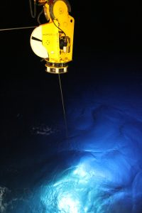 ROPOS lights up the water column as it begins its descent to the base of Axial Seamount 2600 meters deep. Photo by Allison Fundis