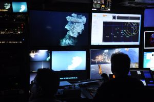 ROV Pilots in the control room, as we examine the black smoker known as Escargot. (photo: Judy Twedt)