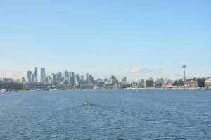 View of downtown Seattle from Lake Union during out departure. (photo: Judy Twedt)