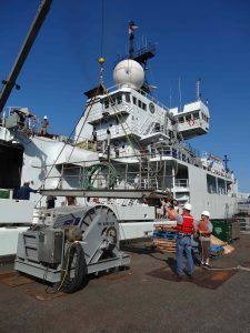 The gangway is taken up at the UW dock as the R/V Thompson prepares to set sail on the first leg of VISIONS '13.  Photo by Nancy Penrose