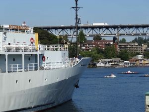 Having just cast off from the UW dock, the R/V Thompson heads out on the first leg of VISIONS '13  Photo by Nancy Penrose